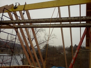 Starting to set rafters