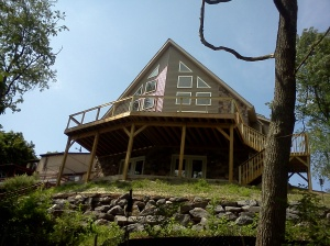 A view of this finished home from the lake shore